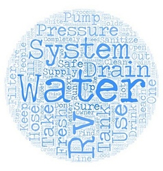 Rv fresh water system text background wordcloud vector