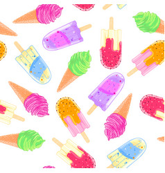 seamless pattern with colorful ice cream cone and vector image vector image