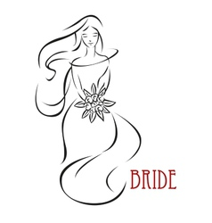 Shy bride with flowers invitation template vector image