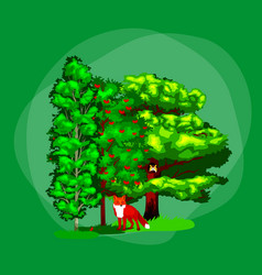 Summer green forest tree and small animals in wild vector