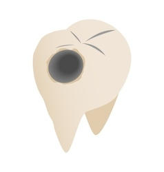 Teeth with caries icon isometric 3d style vector image