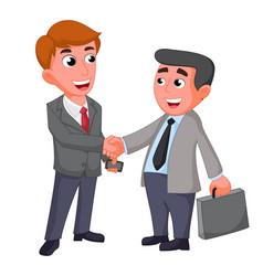 two businessman shaking hands happy negotiating vector image vector image