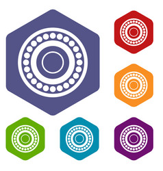 bearing icons set hexagon vector image vector image
