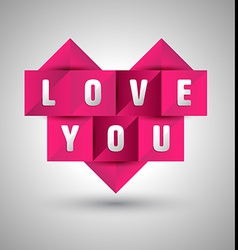 Origami paper heart shape with love you vector image vector image