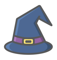 witch hat filled outline icon halloween and scary vector image