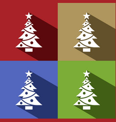 christmas tree icon with star set with shade vector image