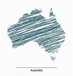 Doodle sketch of Australia map vector image