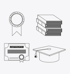Graduation cap diploma seal book icon vector