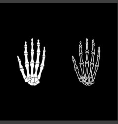 hand bone icon set white color flat style simple vector image vector image
