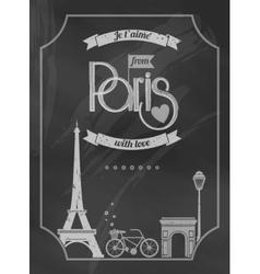 Love Paris chalkboard retro poster vector image