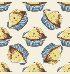 seamless pattern with hand-drawn muffins vector image vector image