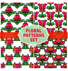 seamless patterns set with flowers and vector image