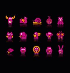 Stylized Animals 2 Black Background vector image