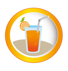 colorful circular frame with cocktail drink with vector image