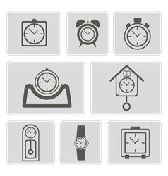 monochrome icons with different clocks vector image vector image
