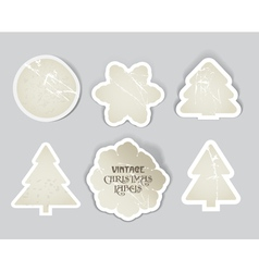 scratched vintage christmas style labels se vector image vector image