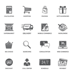 Shopping E-commerce Icons vector image vector image