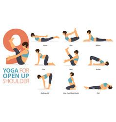 9 yoga poses for open up shoulder vector