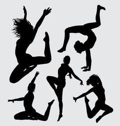 aerobic dance silhouette vector image