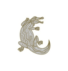 Alligator Climbing Up Mono Line vector