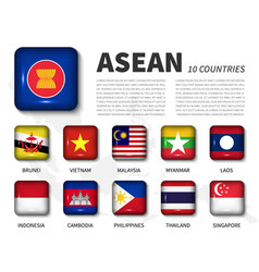 asean and membership association southeast vector image