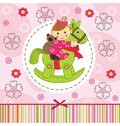 Baby girl with bear on horse vector