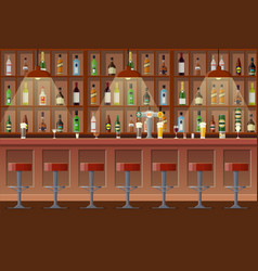 bar pub night club interior vector image