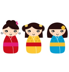 Beautiful Kokeshi dolls set isolated on white vector image