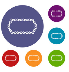 bicycle chain icons set vector image
