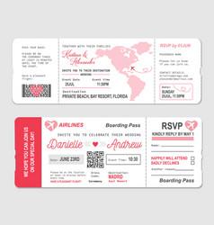 Boarding pass ticket wedding invitation template vector