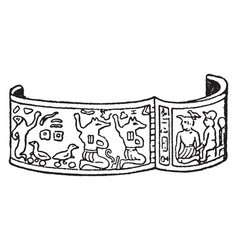 Bracelet with a hinged closure vintage engraving vector