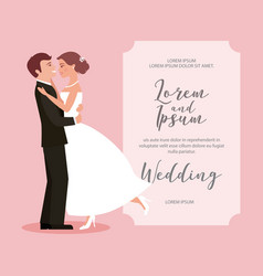 Bride and groom their first dance wedding card vector