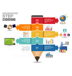 business data process chart diagram with steps vector image