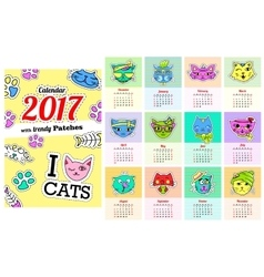 Calendar 2017 with cats In cartoon 80s-90s comic vector image