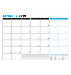 Calendar template for january 2019 business vector