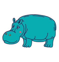 cartoon animal cute hippo on green backgrounds vector image