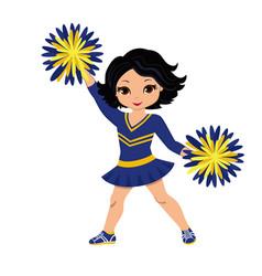cheerleader in blue yellow uniform with pom pom vector image