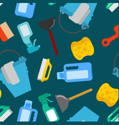 cleaning seamless pattern accessories cleaner vector image