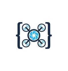 code drone logo icon design vector image
