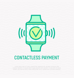 Contactless payment thin line icon vector