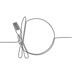 continuous one line drawing plate khife and fork vector image