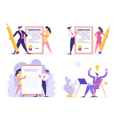 Creative idea certificate and project signing set vector