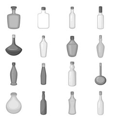 Different bottles icons set monochrome vector