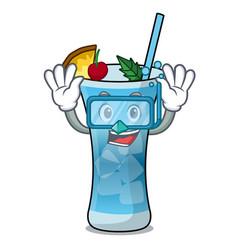 diving blue hawaii character cartoon vector image