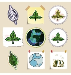 Ecology emblems set Hand drawn and isolated vector