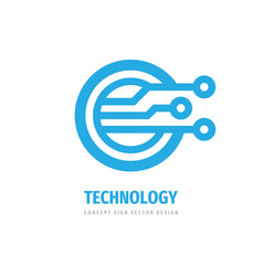 electronic technology logo design computer net vector image