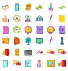 End of business icons set cartoon style vector