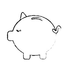 Figure save money inside pig in the home vector