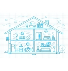 Flat house silhouette blue vector