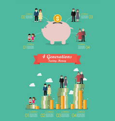 four generation saving money collection vector image